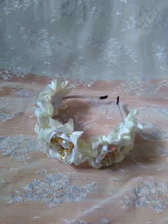 Бело-золотой обруч, праздничный обруч для волос. Дніпро. фото 1