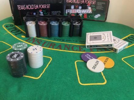 Набор для игры в покер Texas Holdem на 200 фишек покерный набор с номиналом. Киев. фото 1