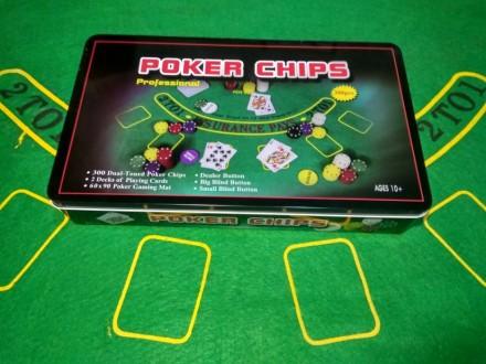 Набор для игры в покер 300 фишек с номиналом покерный набор новый. Киев. фото 1