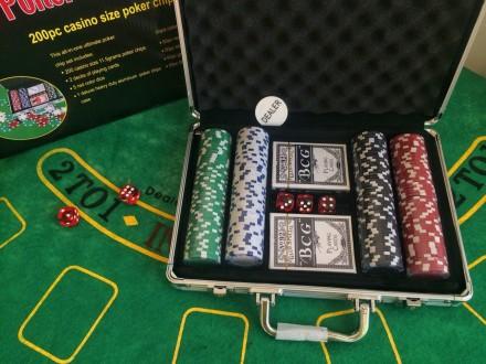 Набор для игры в покер 200 фишек в алюминиевом кейсе покерный набор. Киев. фото 1