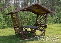 Беседка садовая деревянная со столом и лавками на 8 человек / Б4-4. Чернигов. фото 1