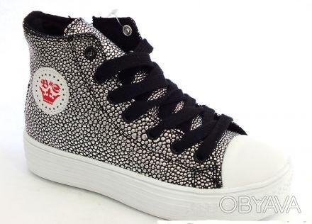 Шикарные ботиночки от ТМ B&G. Черные с серебряными каплями.  Выполнены из качест. Сумы, Сумская область. фото 1