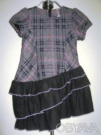 Платье-сарафан шерстяной TRAUM, можно для школы. Нестандартная модель. Серо-че. Киев, Киевская область. фото 7