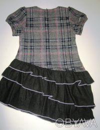 Платье-сарафан шерстяной TRAUM, можно для школы. Нестандартная модель. Серо-че. Киев, Киевская область. фото 4