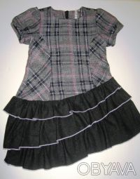 Платье-сарафан шерстяной TRAUM, можно для школы. Нестандартная модель. Серо-че. Киев, Киевская область. фото 3
