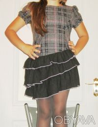 Платье-сарафан шерстяной TRAUM, можно для школы. Нестандартная модель. Серо-че. Киев, Киевская область. фото 2