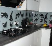 Кухонный фартук из закаленного стекла с изображением котов.. Киев. фото 1