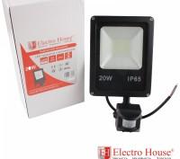 LED прожектор с датчиком движения 20W IP65 ElectroHouse EH-LP-212. Киев. фото 1