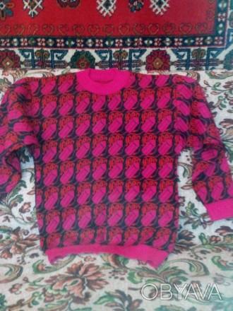 Джемпер р.34 рост 140-146 на девочку 9-10 лет, цвет розовый с красным. Запоріжжя, Запорізька область. фото 1