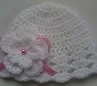 Комплект для девочки, состоящий из пинеток и шапочки в белом цвете. Хороший вари. Самбор, Львовская область. фото 3