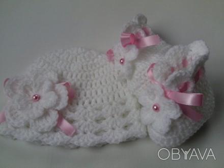 Комплект для девочки, состоящий из пинеток и шапочки в белом цвете. Хороший вари. Самбор, Львовская область. фото 1