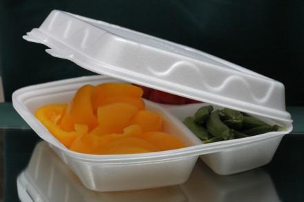 Ланч бокс из полистирола на дтри деления, контейнер пищевой, одноразовая посуда. Киев. фото 1