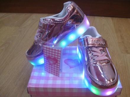 Кроссовки светящиеся турецкие лаково-зеркальные с 21 по 26 В наличии!. Лубны. фото 1