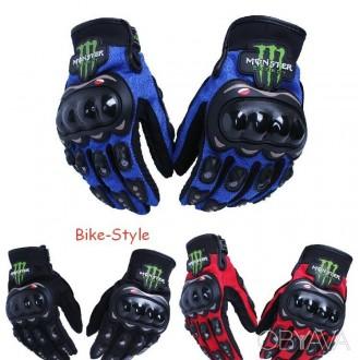 Мотоперчатки Monster Energy текстильные. Харьков. фото 1