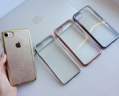 Прозрачные силиконовые чехлы с цветной окантовкой для iPhone  надежно защитят Ва. Днепр, Днепропетровская область. фото 2